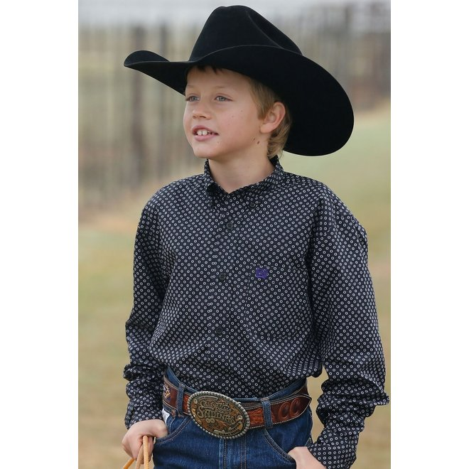 Boys Black Print Button Shirt