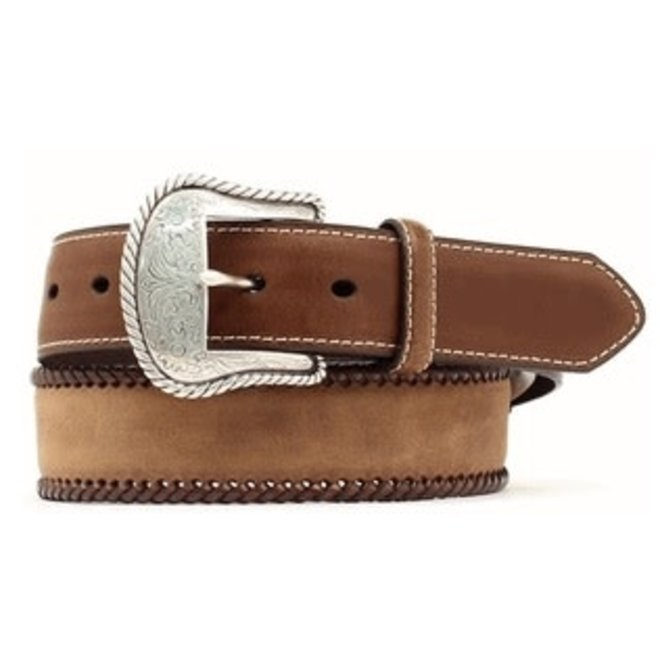 Mens Brown Top Hand Belt with Brown Lacing and Round Conchos