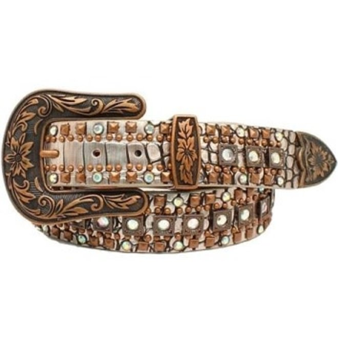 Ladies Silver/Cropper Crocodile Belt