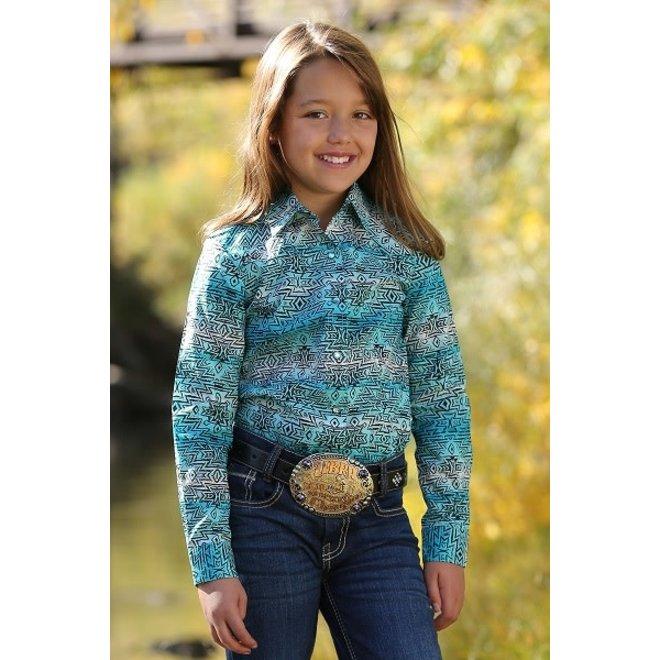 Girls Blue Print Snp Shirt
