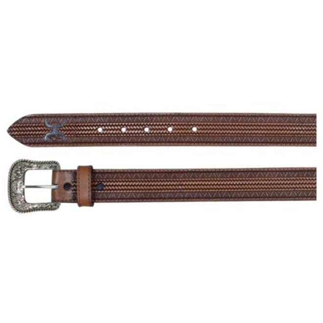 Mens Geometirc Tooled Brown Belt