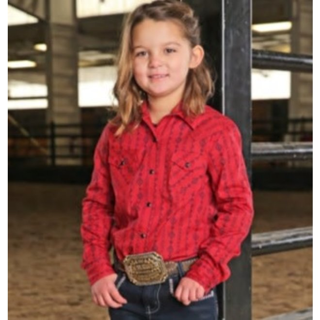 Girls Red Print Western Snap Shirt