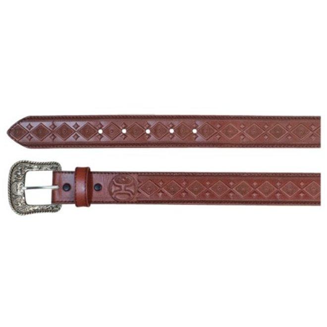 Mens Chestnut Brown Diamond Tooled Belt