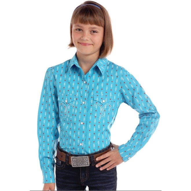 Girls Turquoise Feather Print Snap Shirt