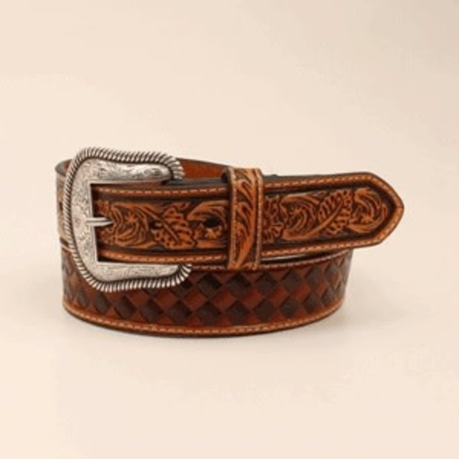 Mens Brown Stain Embossed Belt