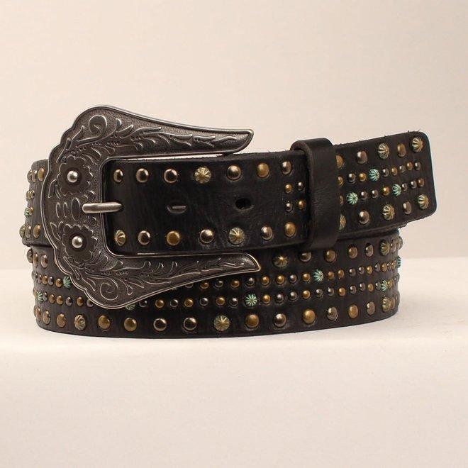 Ladies Black Nailhead Belt