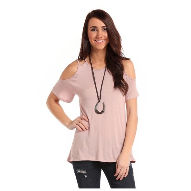 Junior Ladies Pink Cold Shoulder Top