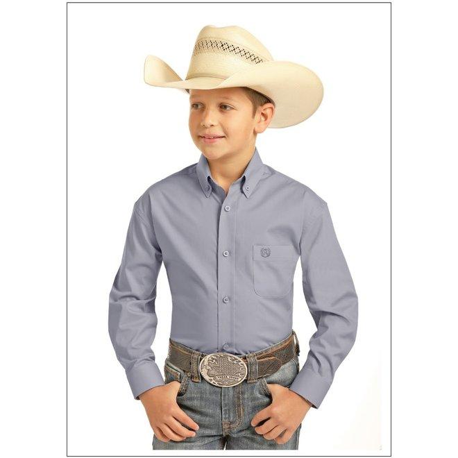 Boys Solid Grey Stretch Poplin Shirt