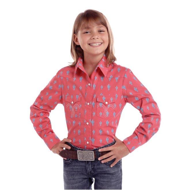 Girls All Over Cactus Print Snap Shirt