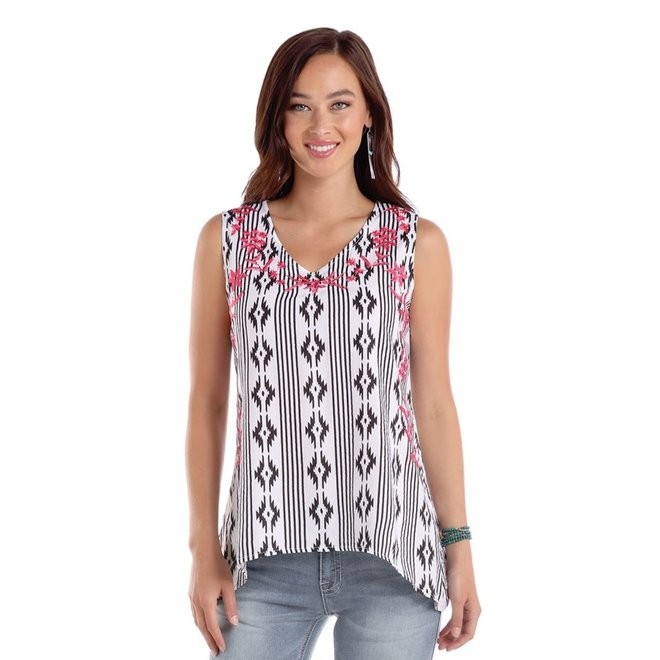 Ladies Aztec Print V-Neck Top