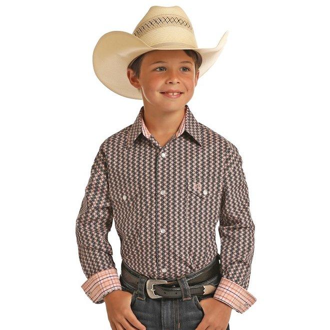 Boys Diamond Print Snap Shirt