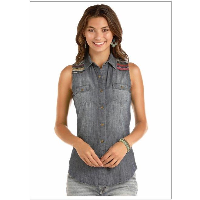 Junior Ladies Sleeveless Denim Snap Shirt