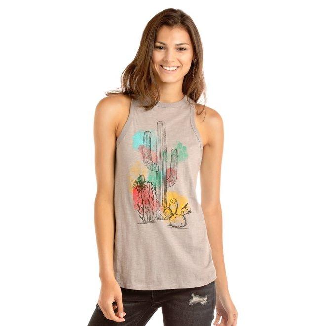 Junior Ladies Cactus Graphic High Neck Tank Top