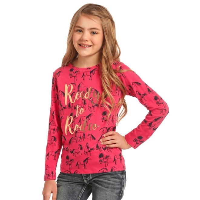 Girls Foil Lettered Allover Print Tee