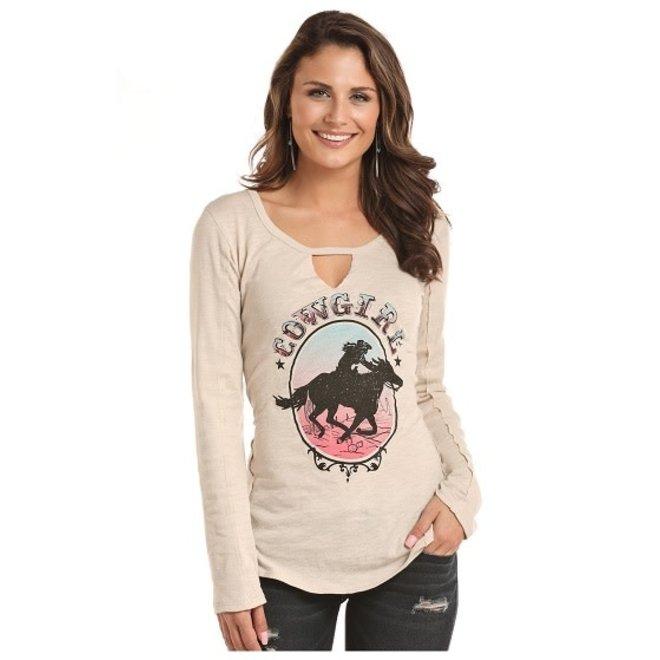 Jr Ladies Tan Graphic T-Shirt