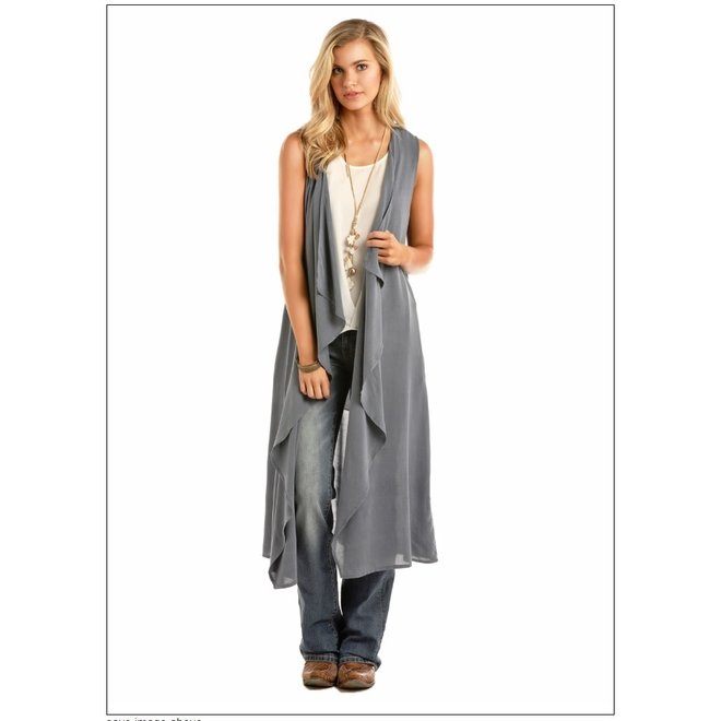 Junior Ladies Long Grey Rayon Vest