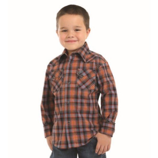 Boys Retro Plaid Western Snap Shirt