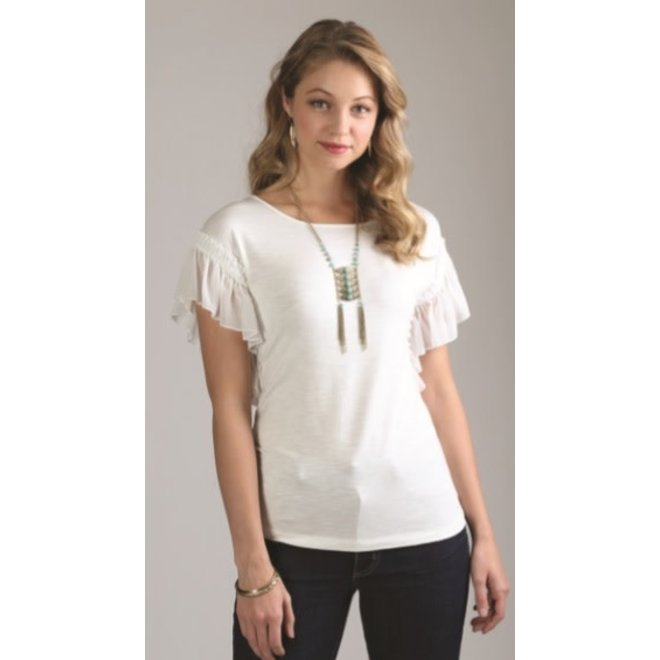 Ladies Ivory Ruffle Sleeve Top