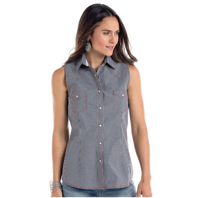 Ladies Classic Check Sleeveless Snap Shirt