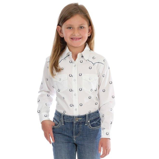 Girls Horseshoe Print Western Snap Shirt