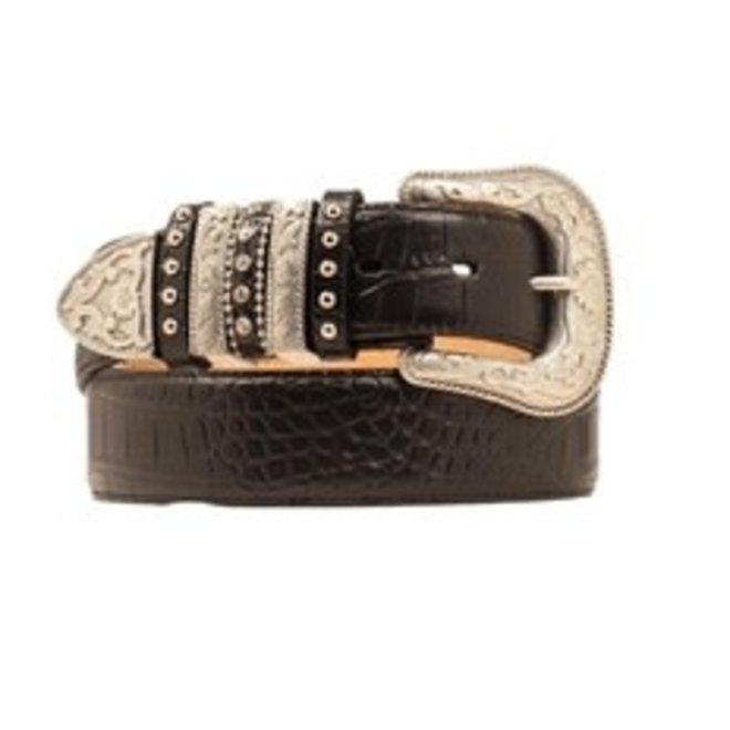 Black Croc Print Multi Keeper Belt