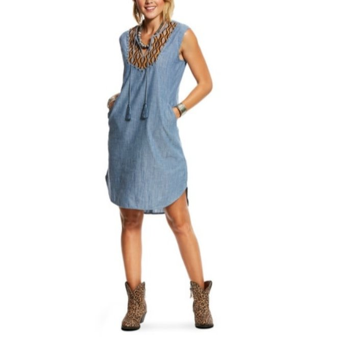 Ladies Chambray Blue Dress