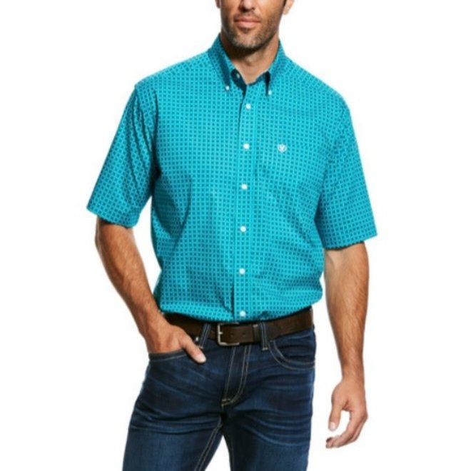 Mens Wrinkle Free Viridian Green Shirt