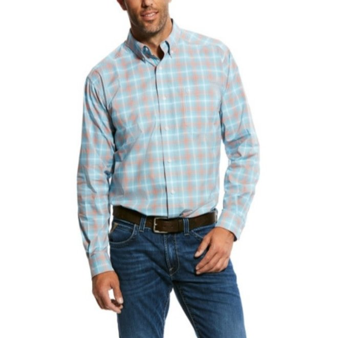 Mens Fitted Pro Series Stretch Plaid Shirt