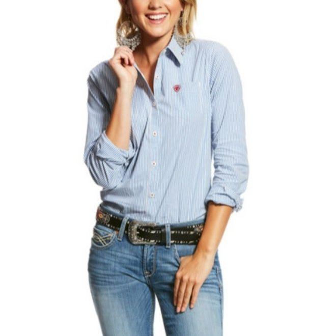 Ladies Classic Blue Stripe Kirby Shirt