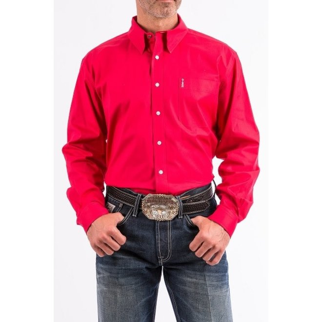 Mens Solid Red Modern Fit Shirt