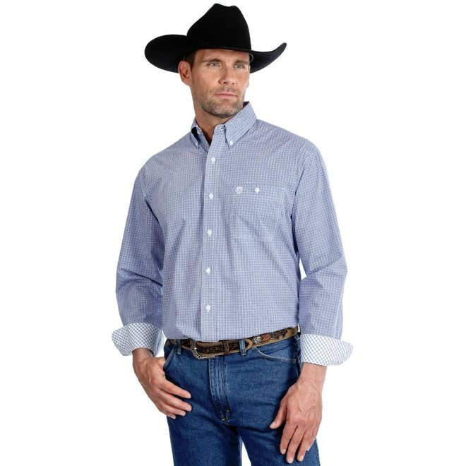 Mens George Strait Blue Print Shirt