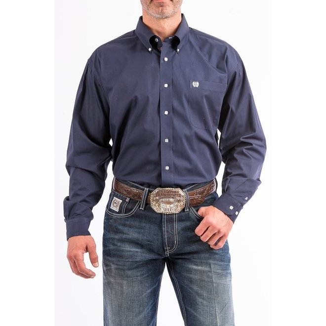 Mens Solid Navy Button Shirt