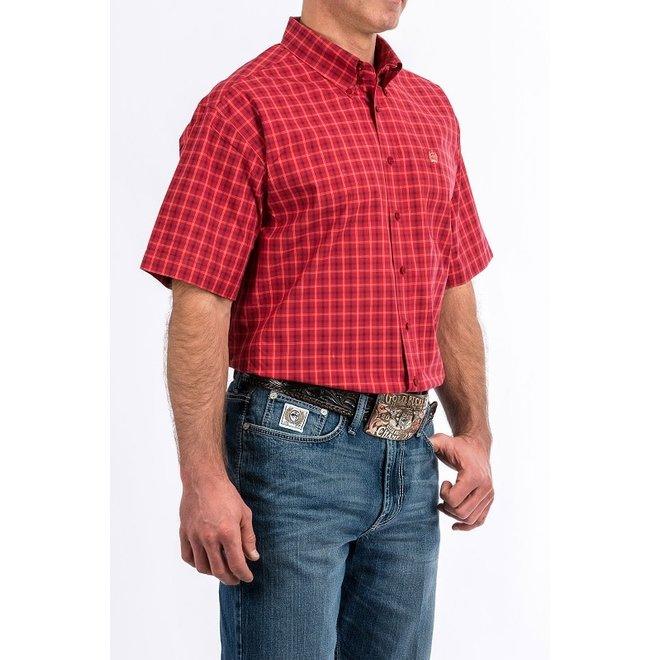 Mens Red Plaid Short Sleeve Shirt