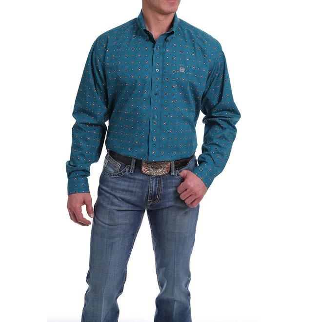 Mens Teal Print Button Shirt