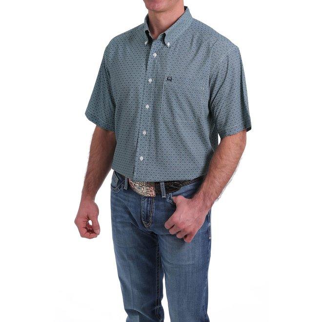 Mens Blue Short Sleeve Button Shirt