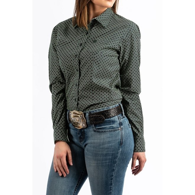 Ladies Green Print Button Down Shirt