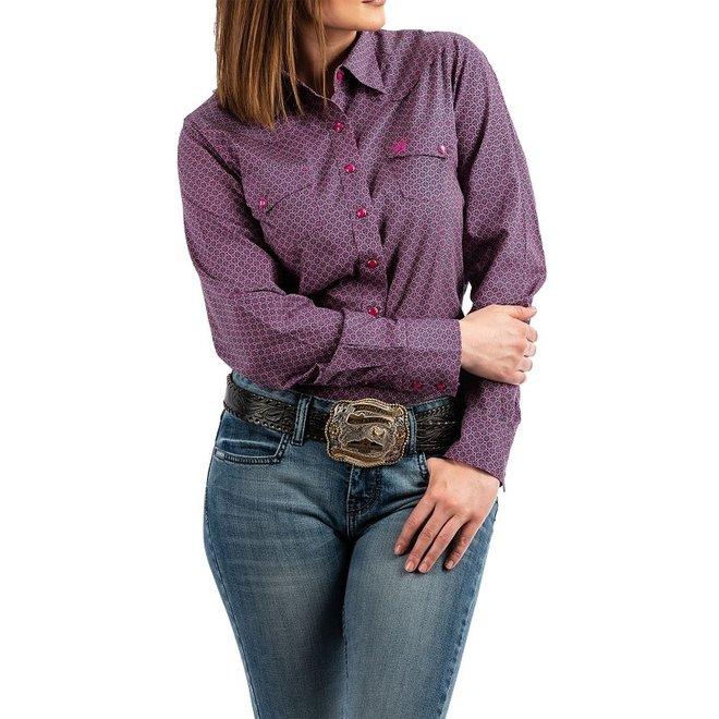 Ladies Dark Pink Western Snap Shirt