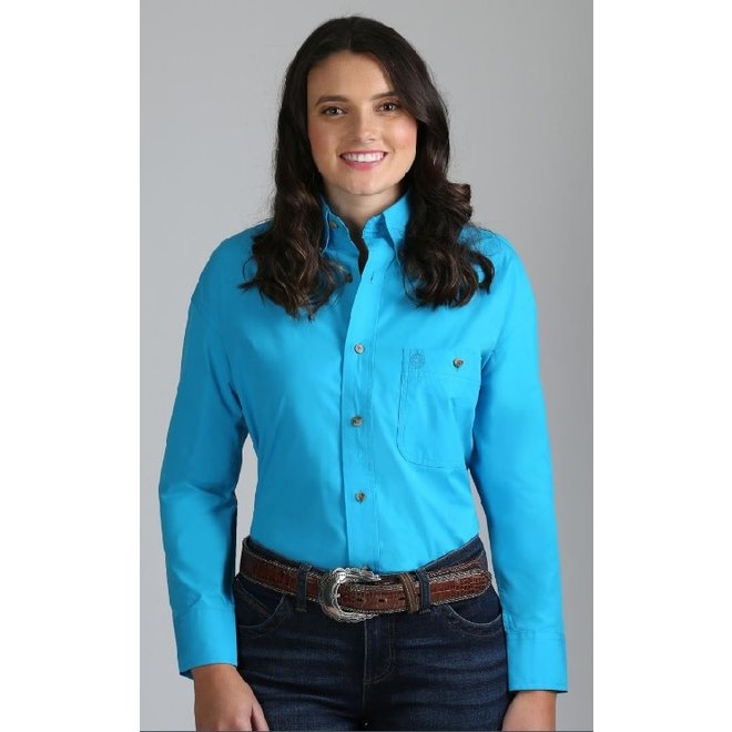 Ladies Solid Poplin Turquoise Shirt