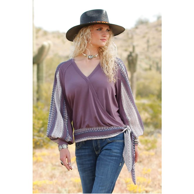 Ladies Purple Surplice Top