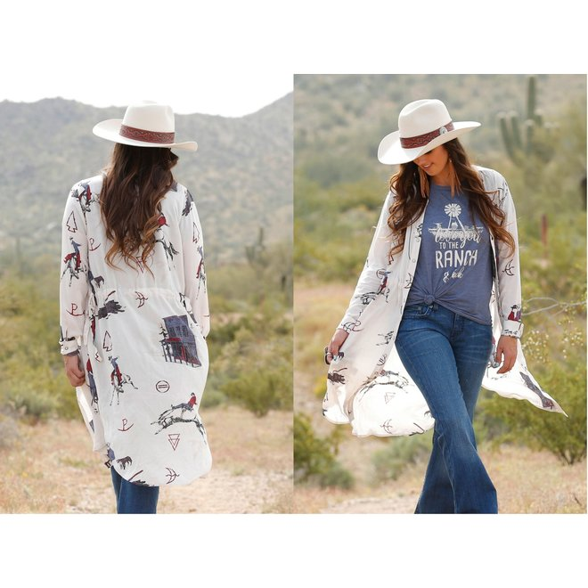 Ladies Cream Print Duster