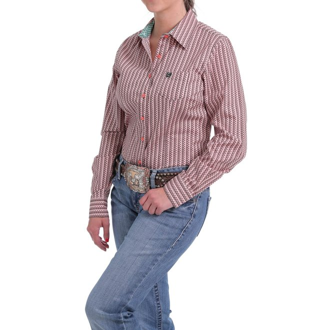 Ladies Pink/Gray Print Button Shirt