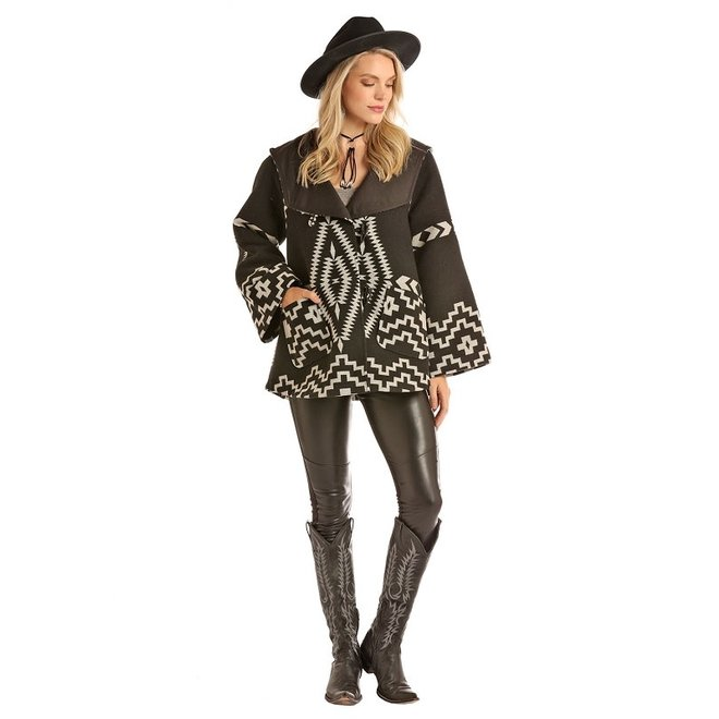 Ladies Black Aztec Wool Cape Coat