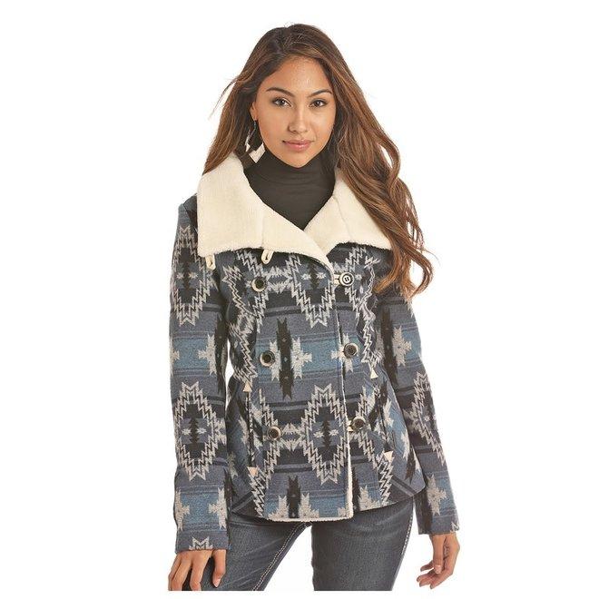 Ladies Blue Jacquard Wool Coat