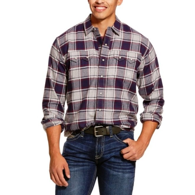 Mens Retro Plaid Snap Shirt