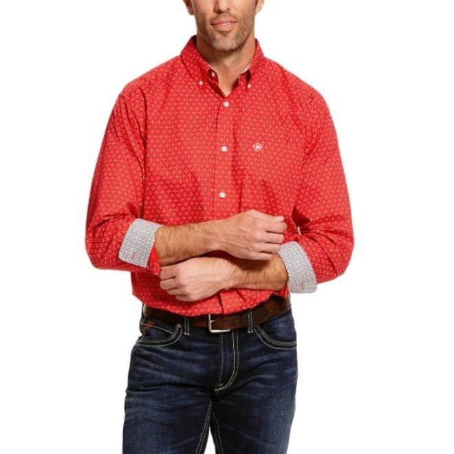 Mens Red Clemens Print Shirt