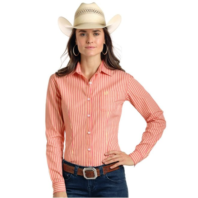 Ladies Orange Stripe Performance Shirt