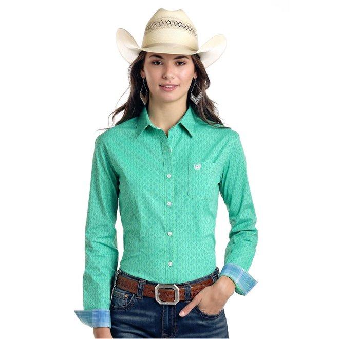 Ladies Mint Green Vintage Print Shirt