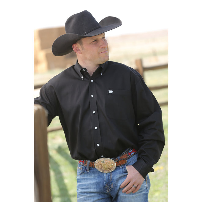 Cinch Mens Solid Black Shirt