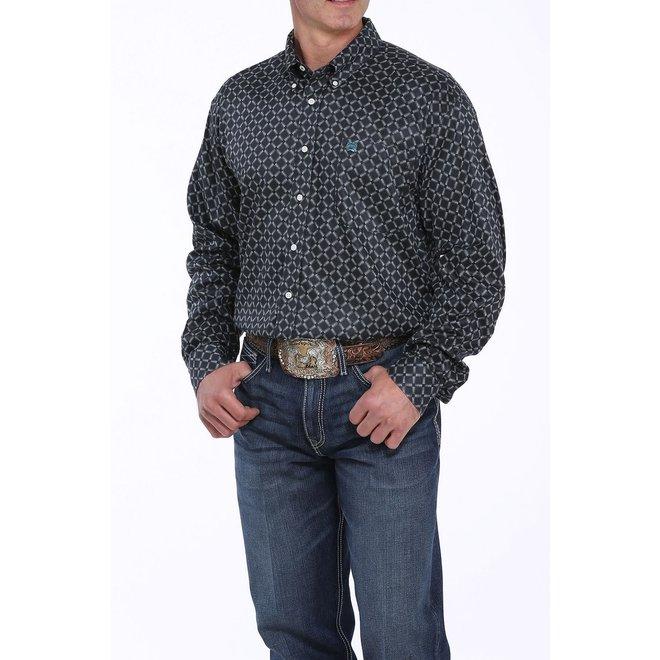 Mens Black Print Button Shirt