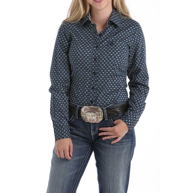 Ladies Navy Print Button Shirt